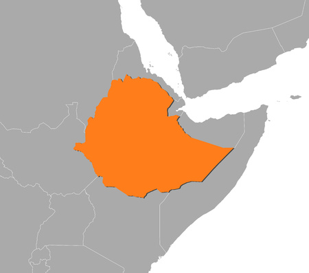 ethiopia abstract: Map of Ethiopia and nearby countries, Ethiopia is highlighted in orange.