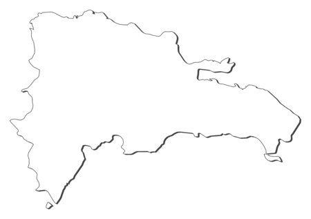 dominican republic: Map of Dominican Republic, contous as a black line.