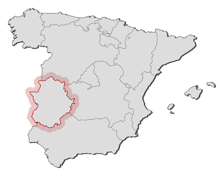 Map of Spain with the provinces, Extremadura is highlighted by a hatching.
