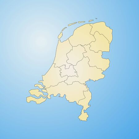 tone shading: Map of Netherlands with the provinces, filled with a radial gradient. Illustration
