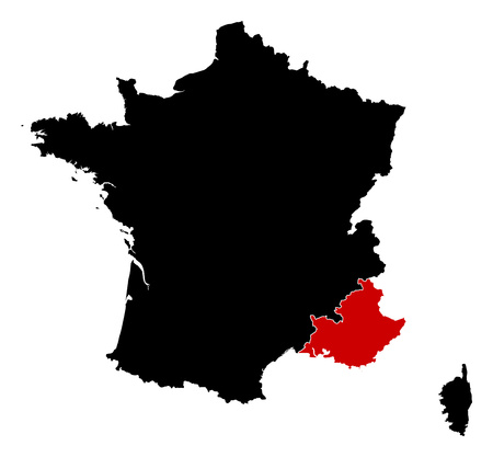 d'azur: Map of France in black, Provence-Alpes-Cote dAzur is highlighted in red.