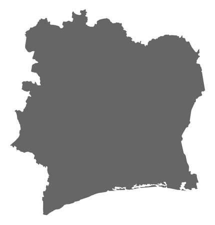 subdivisions: Map of Ivory Coast as a dark area.