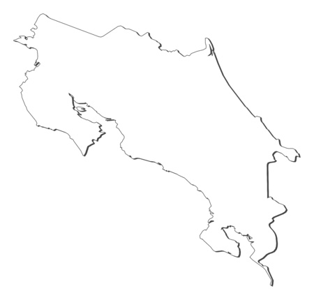 Map of Costa Rica, contous as a black line.