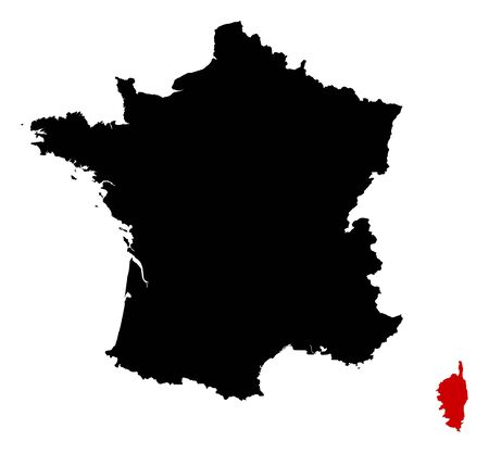 Map of France in black, Corsica is highlighted in red.