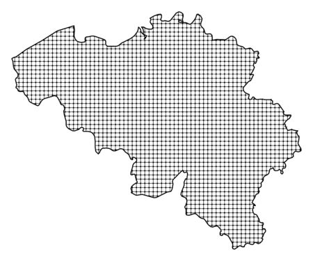 frontier: Map of Belgium, shaded. Illustration
