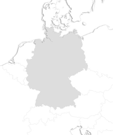 federal republic of germany: Map of Germany with the nearby countries as a white area over its shadow.