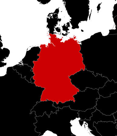 federal republic of germany: Map of Germany and nearby countries in black.