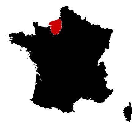 normandy: Map of France in black, Upper Normandy is highlighted in red. Illustration