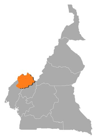 northwest africa: Map of Cameroon with the provinces, Northwest is highlighted by orange.