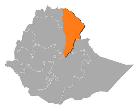 afar: Map of Ethiopia with the provinces, Afar is highlighted by orange.