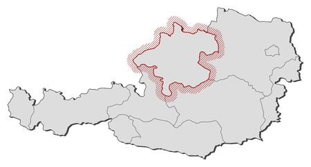 upper austria: Map of Austria with the provinces, Upper Austria is highlighted by a hatching.
