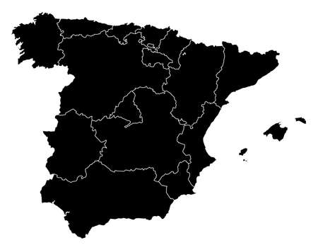 provinces: Map of Spain in black with the provinces. Illustration