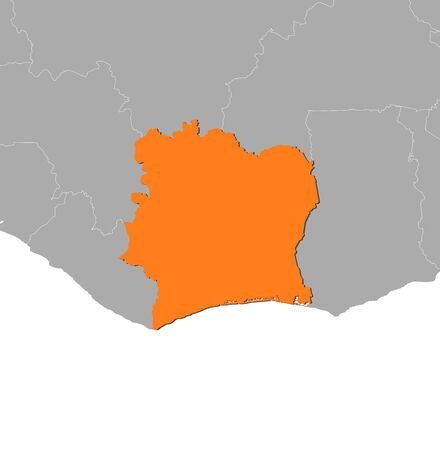 ivory: Map of Ivory Coast and nearby countries, Ivory Coast is highlighted in orange.