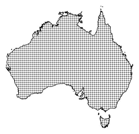 frontiers: Map of Australia, shaded.