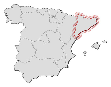 shady: Map of Spain with the provinces, Catalonia is highlighted by a hatching.