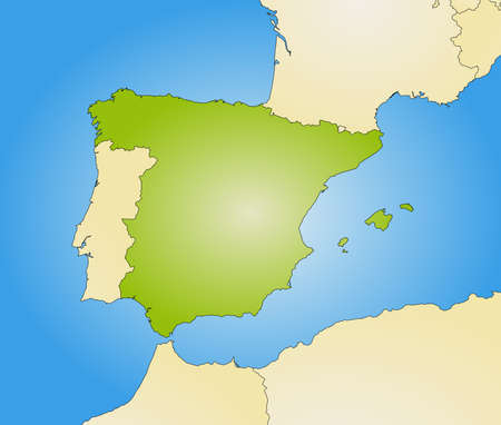 Map of Spain and nearby countries, filled with a radial gradient.