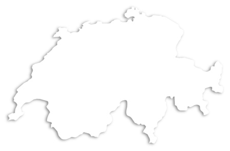 schweiz: Map of Swizerland as a white area over its shadow.