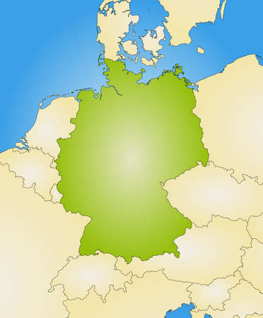 federal republic of germany: Map of Germany and nearby countries, filled with a radial gradient.
