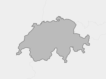 schweiz: Map of Swizerland and nearby countries, Swizerland is highlighted in gray. Illustration