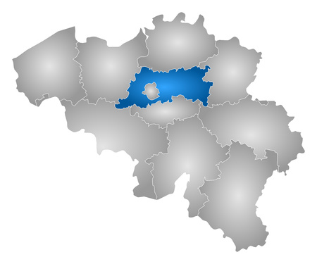 flemish: Map of Belgium with the provinces, filled with a radial gradient, Flemish Brabant is highlighted.