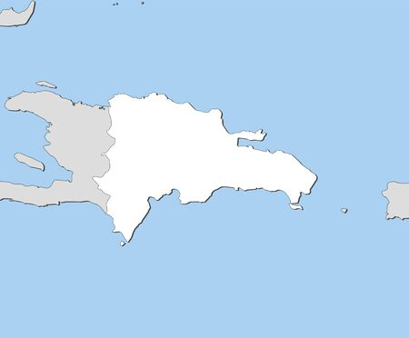 Map of Dominican Republic and nearby countries, Dominican Republic is highlighted in white.