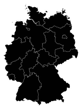 federal republic of germany: Map of Germany in black with the provinces.