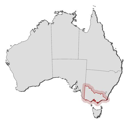 Map of Australia with the provinces, Victoria is highlighted by a hatching. Illustration