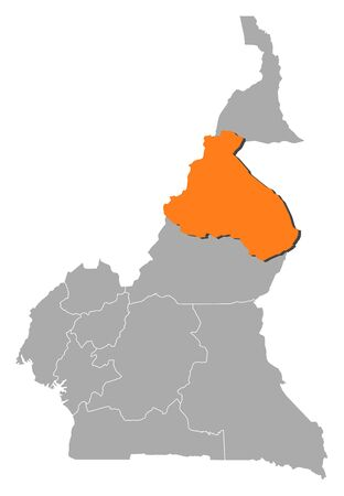 southwestern asia: Map of Cameroon with the provinces, Northern District is highlighted by orange.
