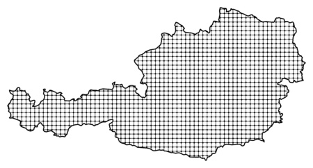 frontier: Map of Austria, shaded. Illustration