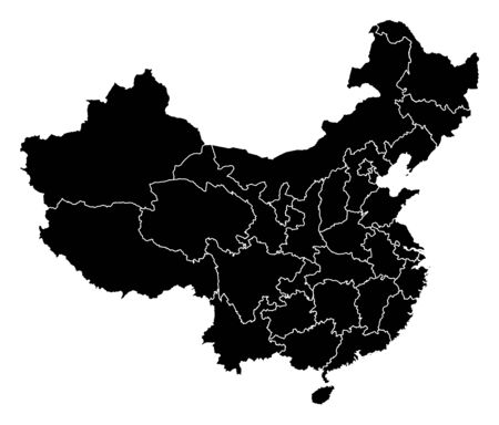 frontiers: Map of China in black with the provinces.