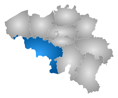 Map of Belgium with the provinces, filled with a radial gradient, Hainaut is highlighted.