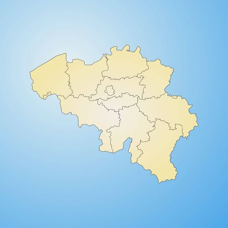 regions: Map of Belgium with the provinces, filled with a radial gradient. Illustration