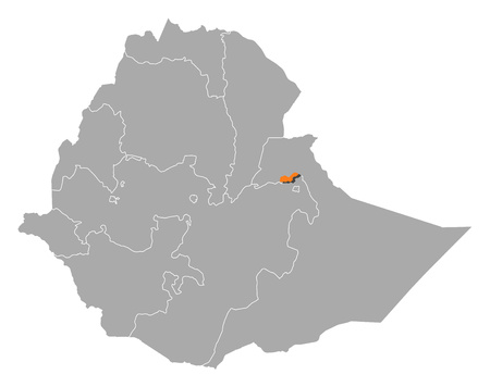dire: Map of Ethiopia with the provinces, Dire Dawa is highlighted by orange.