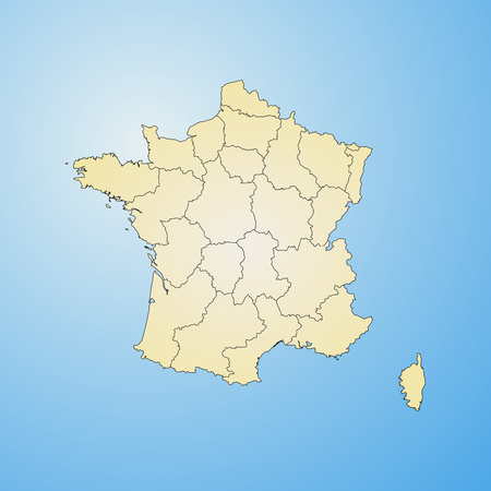 tone shading: Map of France with the provinces, filled with a radial gradient. Illustration