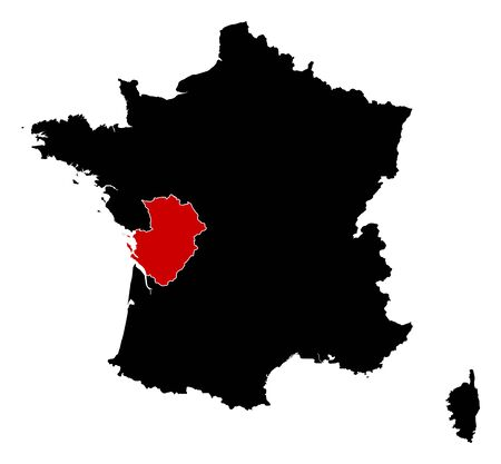 highlighted: Map of France in black, Poitou-Charentes is highlighted in red. Illustration