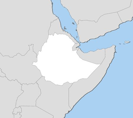ethiopia abstract: Map of Ethiopia and nearby countries, Ethiopia is highlighted in white. Illustration