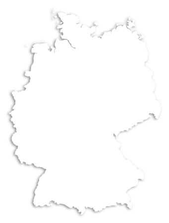 federal republic of germany: Map of Germany as a white area over its shadow.