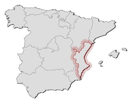 shady: Map of Spain with the provinces, Valencian Community is highlighted by a hatching.
