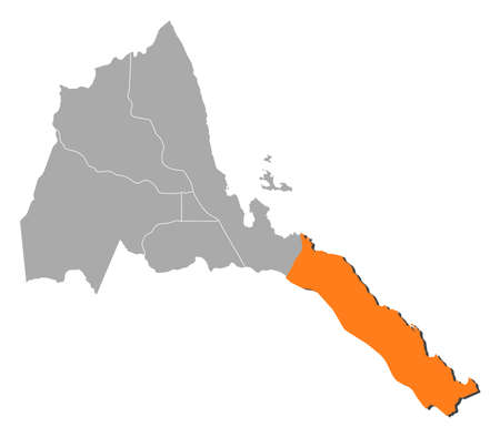 regions: Map of Eritrea with the provinces, Southern Red Sea Region is highlighted by orange.