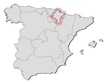 Map of Spain with the provinces, Navarre is highlighted by a hatching.