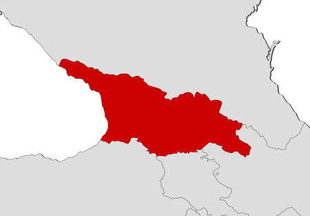 Map of Georgia and nearby countries, Georgia is highlighted in red. Ilustração