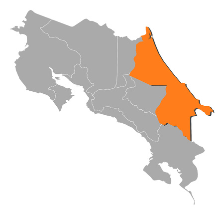 limon: Map of Costa Rica with the provinces, Limon is highlighted by orange.