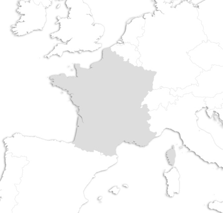 Map of France with the nearby countries as a white area over its shadow.