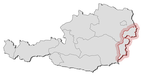 hatching: Map of Austria with the provinces, Burgenland is highlighted by a hatching.