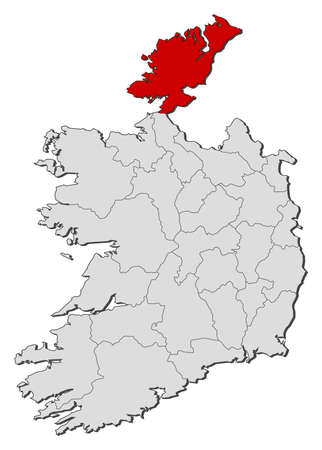 na: Map of Ireland with the provinces, Donegal is highlighted.