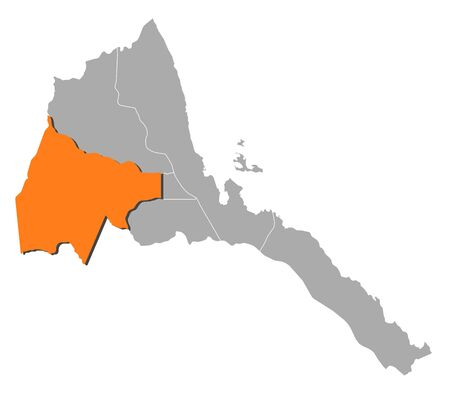 Map of Eritrea with the provinces, Gash-Barka is highlighted by orange.