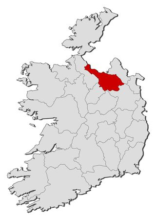 highlighted: Map of Ireland with the provinces, Cavan is highlighted.