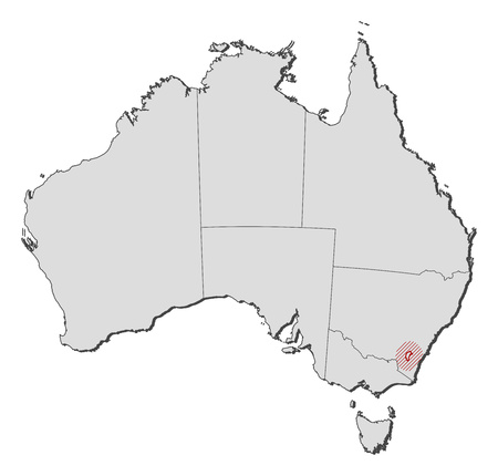 shady: Map of Australia with the provinces, Capital Territory is highlighted by a hatching.