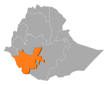 nationalities: Map of Ethiopia with the provinces, Southern Nations, Nationalities, and Peoples Region is highlighted by orange. Illustration