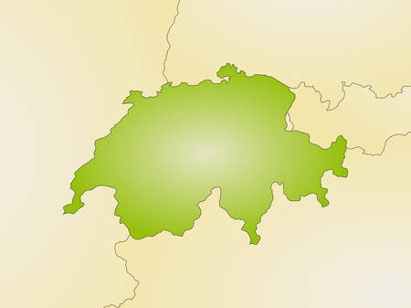 schweiz: Map of Swizerland and nearby countries, filled with a radial gradient.